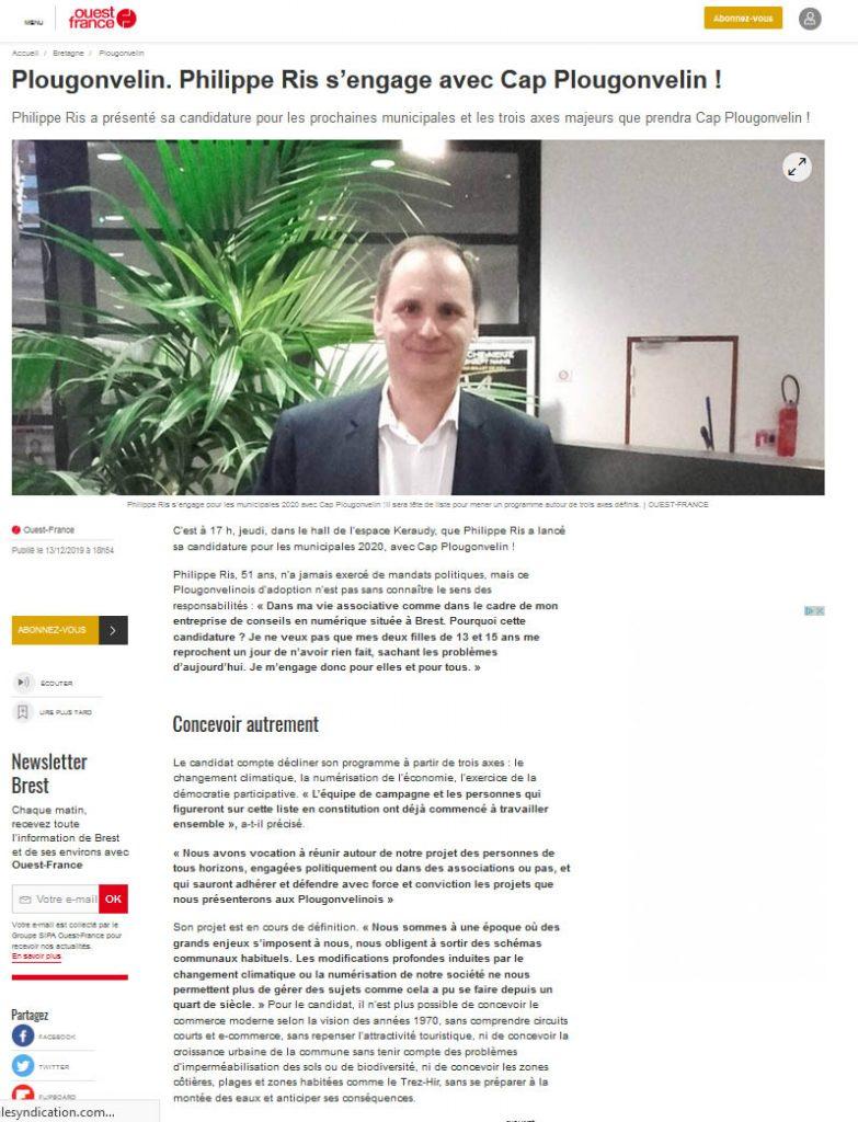 Electtions Municipales Plougonvelin 2020 Philippe RIS Ouest France décembre